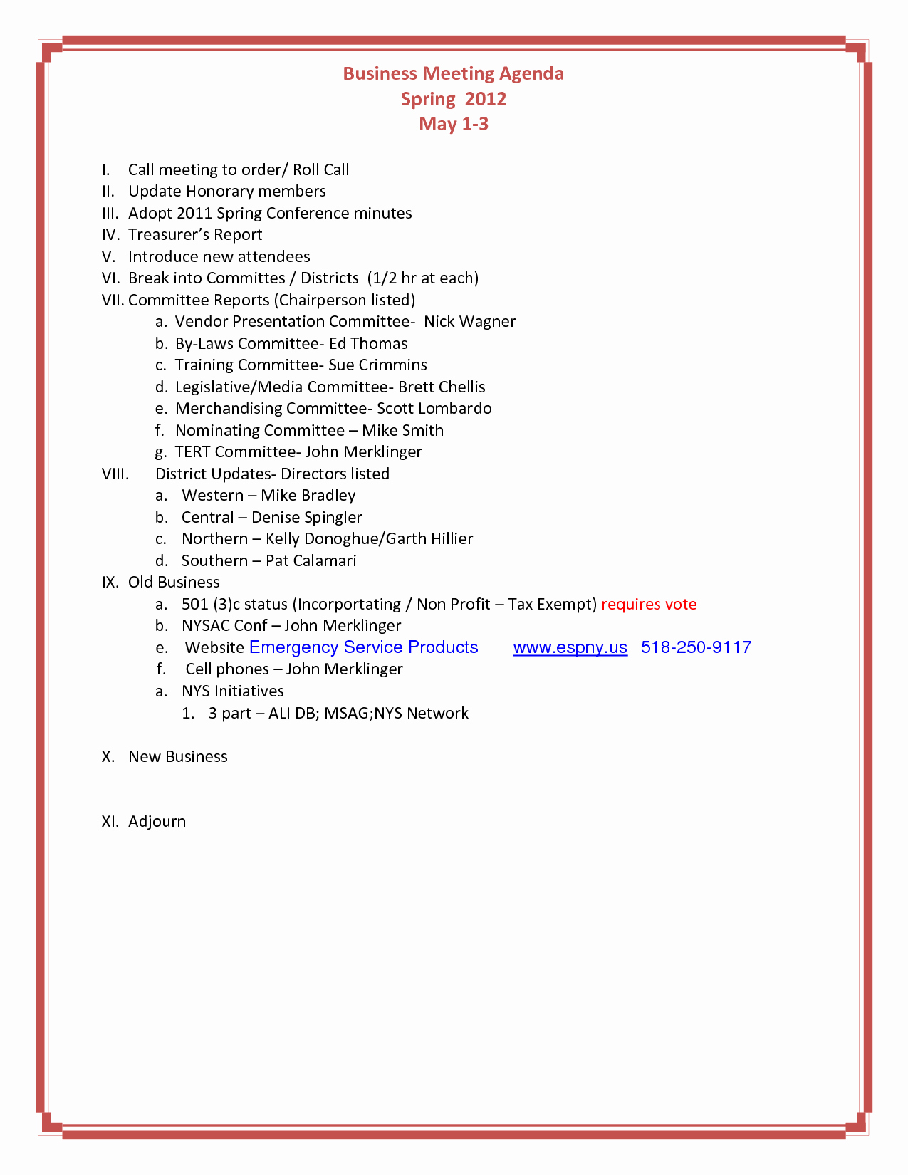 Agenda format for A Meeting New 10 Best Of Church Business Meeting Minutes Sample