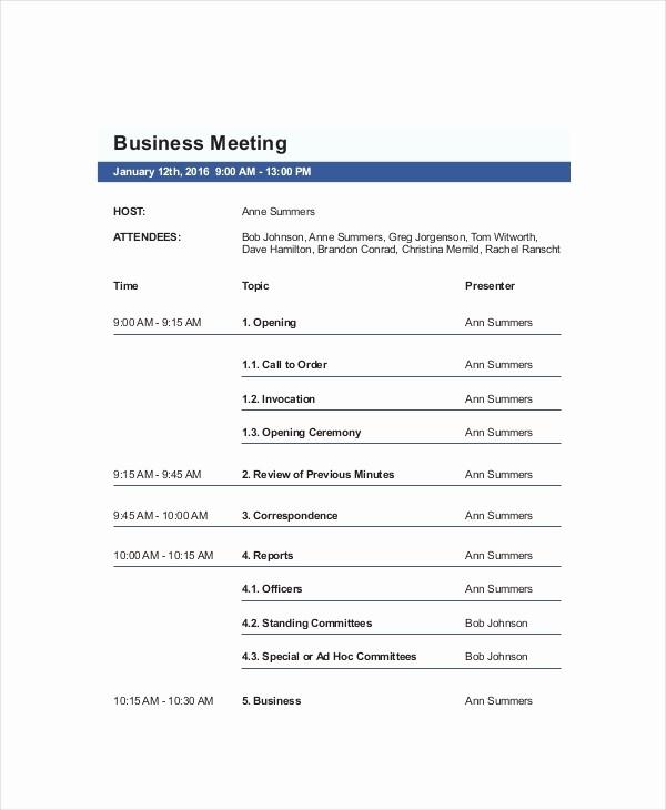 Agenda Sample for Business Meeting Beautiful 10 Business Meeting Agenda Templates – Free Sample
