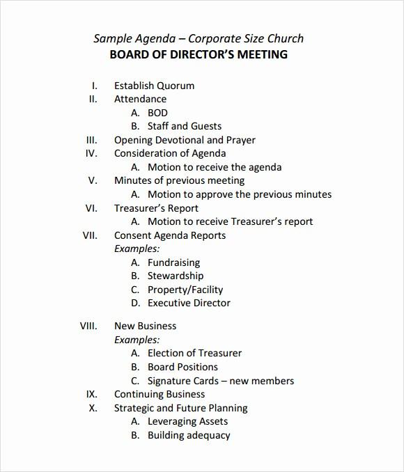 Agenda Sample for Business Meeting Beautiful 12 Sample Board Meeting Agenda Templates