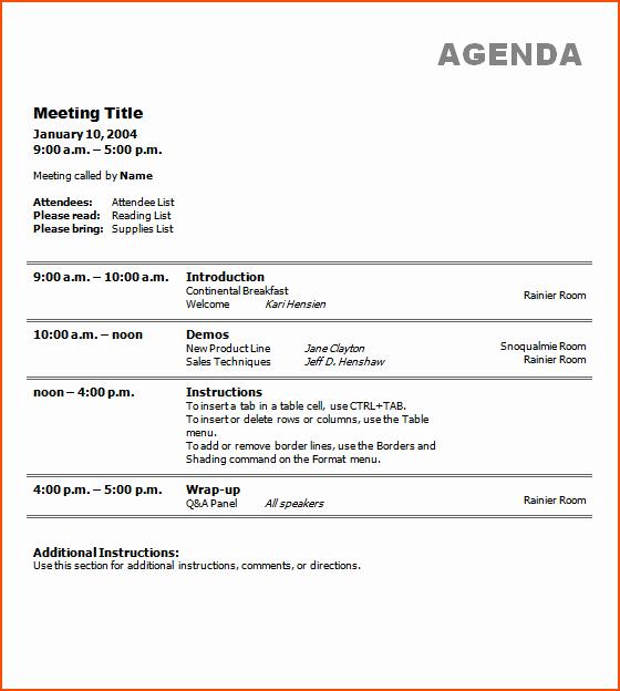 Agenda Sample for Business Meeting Beautiful 5 Business Agenda Template Bookletemplate