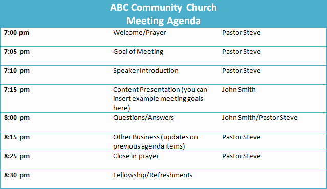 Agenda Sample for Business Meeting Beautiful 5 Tips for A Successful Church Business Meeting