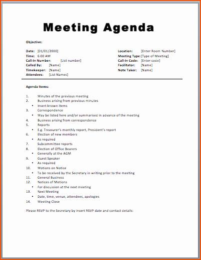 Agenda Sample for Business Meeting Beautiful 7 Agenda formats Bookletemplate