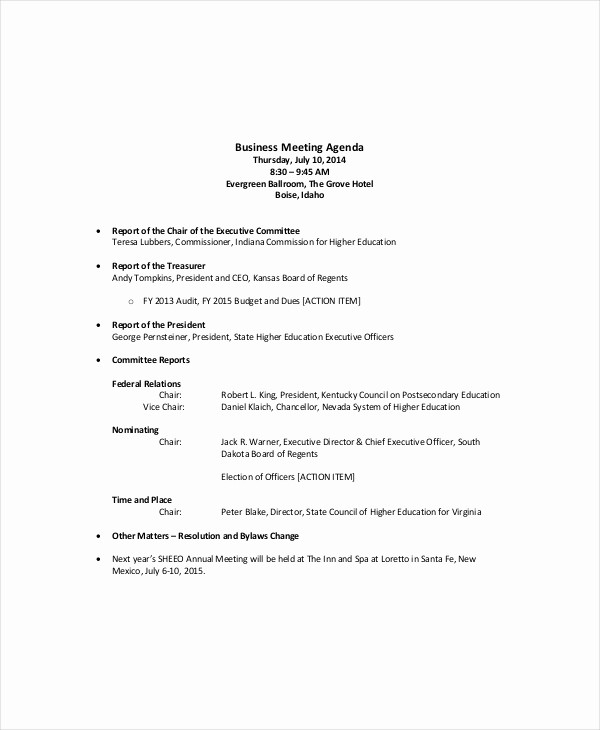Agenda Sample for Business Meeting Best Of 12 Sales Meeting Agenda Templates – Free Sample Example