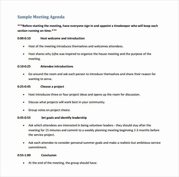 Agenda Sample for Business Meeting Elegant 12 Sample Board Meeting Agenda Templates