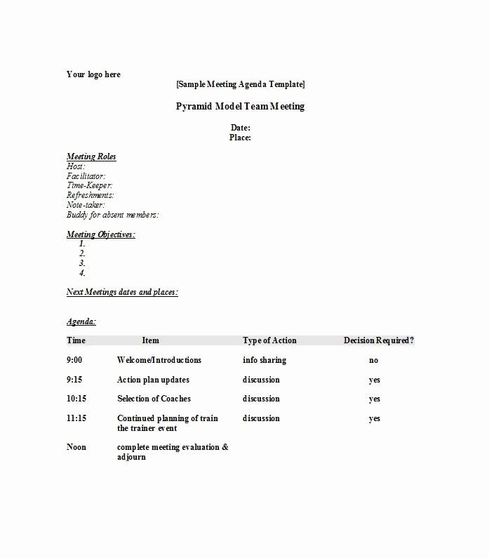 Agenda Sample for Business Meeting Fresh 51 Effective Meeting Agenda Templates Free Template