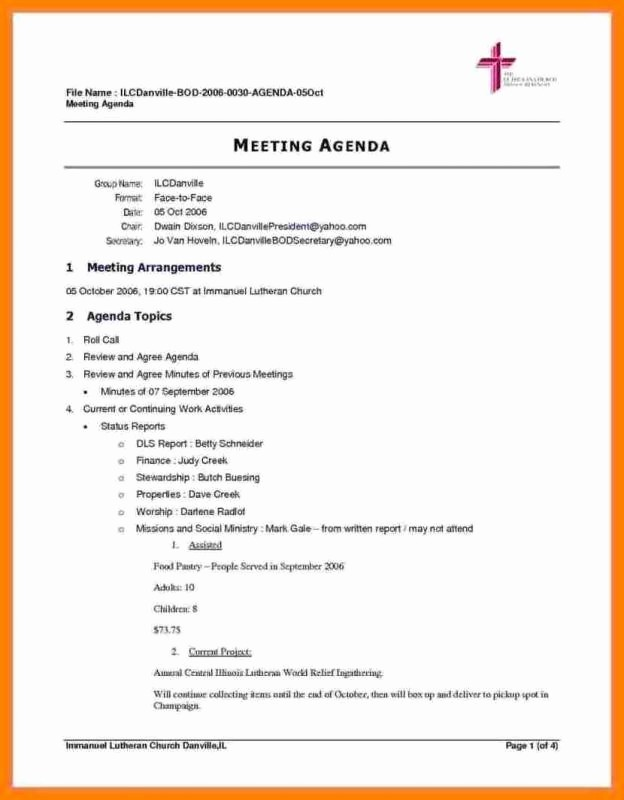 Agenda Sample for Business Meeting Fresh Meeting Agenda Template Doc