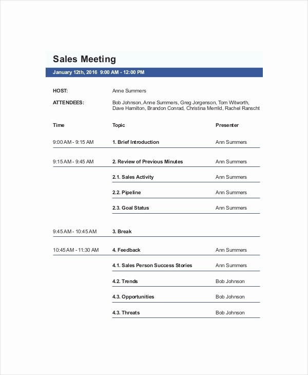Agenda Sample for Business Meeting Fresh Sales Meeting Agenda Template – 11 Free Word Pdf