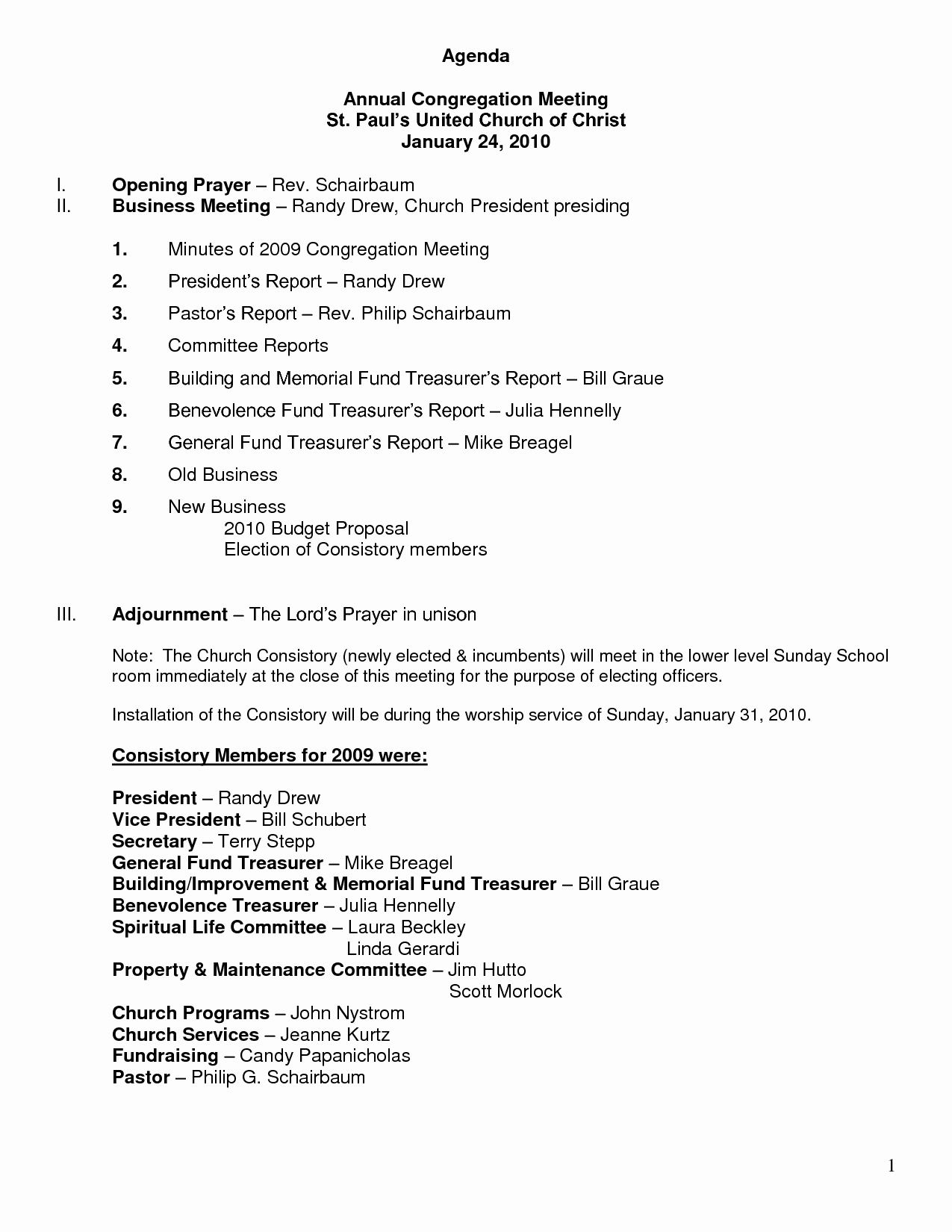 Agenda Sample for Business Meeting Inspirational 10 Best Of Church Business Meeting Minutes Sample