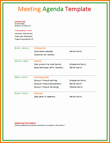 Agenda Sample for Business Meeting Inspirational 4 Business Agenda