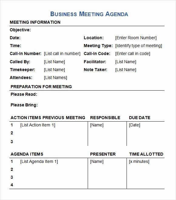 Agenda Sample for Business Meeting Unique 6 Sample Business Meeting Agenda Templates to Download