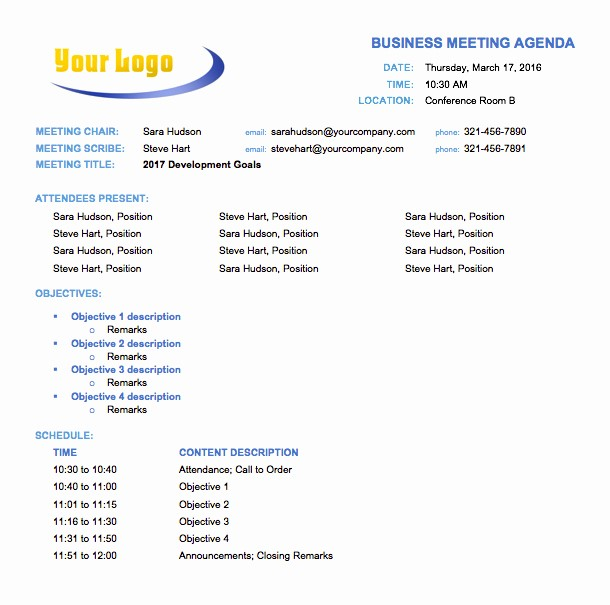 Agenda Sample for Business Meeting Unique Free Meeting Agenda Templates Smartsheet