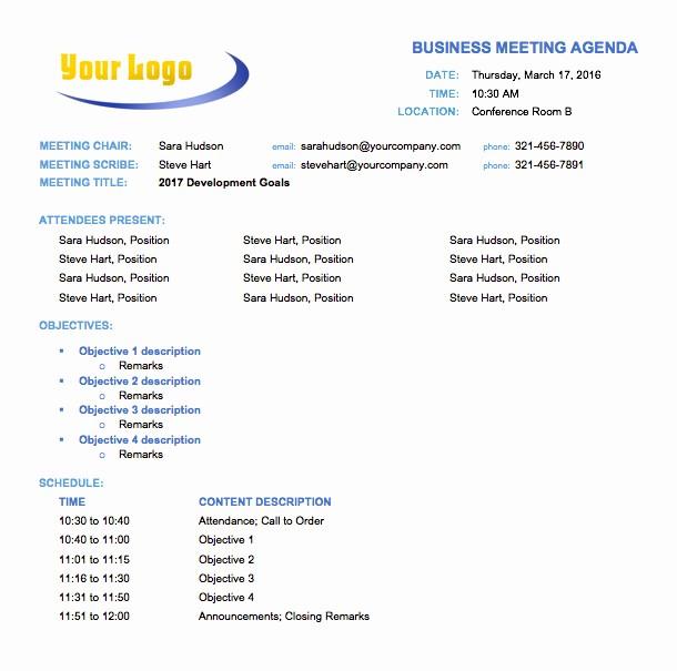 Agenda Sample for Business Meeting Unique Free Meeting Agenda Templates Smartsheet