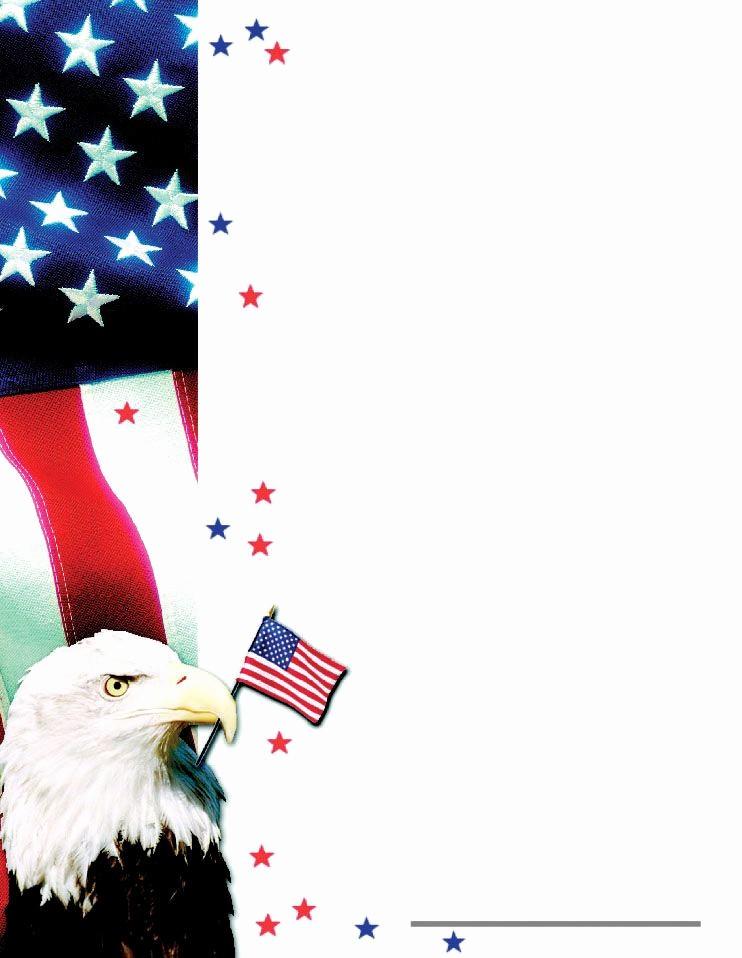 "American Flag Border for Word Awesome Patriotic Border Certificate 8 1 2"" X 11"" 50 Pkg Design"