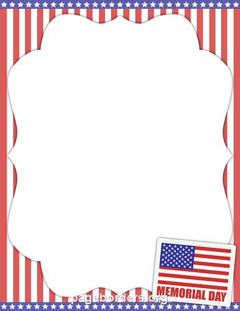 American Flag Border for Word Beautiful Memorial Day Border Clip Art Page and Vector Graphics