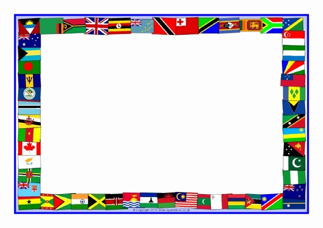 American Flag Border for Word Inspirational Monwealth Flags A4 Page Borders Sb Sparklebox