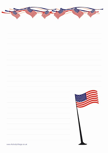 American Flag Border for Word Luxury Stars and Stripes Writing Paper