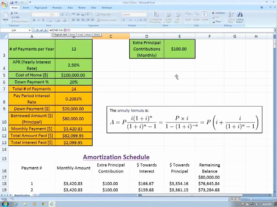Amortization Chart with Extra Payments Beautiful Amortization In Excel Part 4 Extra Principal