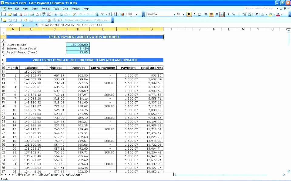 Amortization Chart with Extra Payments Elegant Excel Mortgage Calculator with Extra Payments Amortization
