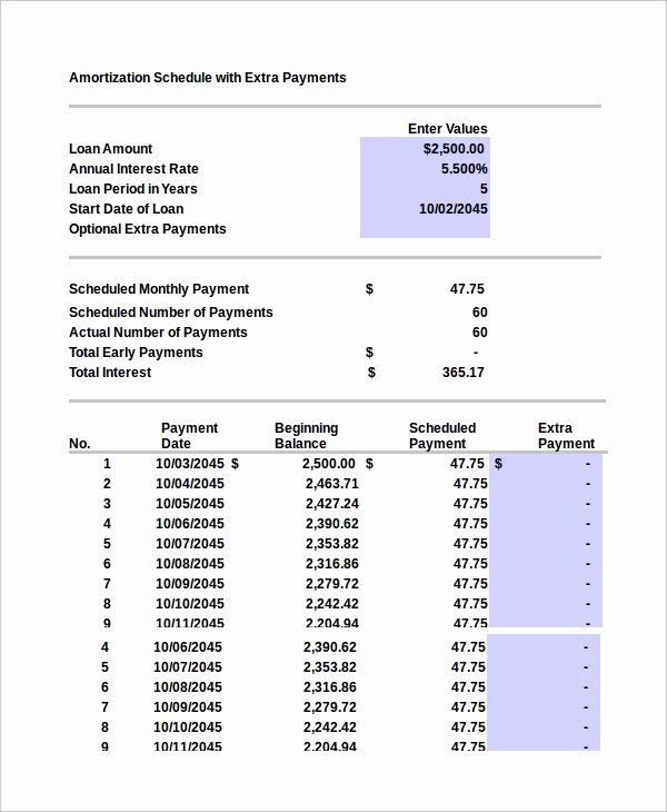 Amortization Chart with Extra Payments Luxury 8 Excel Amortization Schedule Samples