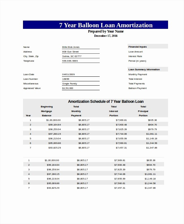 Amortization Table with Balloon Payment Elegant Free Amortization Schedule Free Pdf Excel Documents