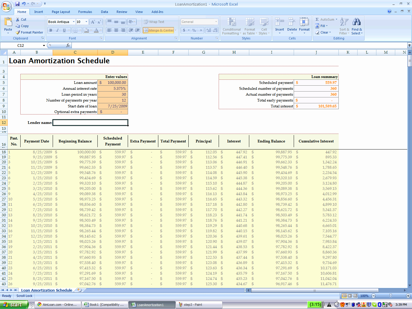 Amortize A Loan In Excel Awesome Using Excel's Built In Amortization Table