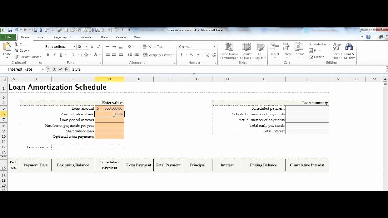 Amortize A Loan In Excel New Create A Loan Amortization Schedule In Microsoft Excel by