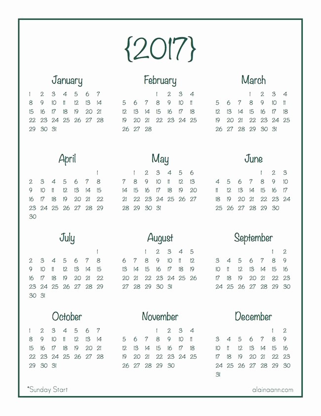 Annual Calendar at A Glance Awesome 2017 Year at A Glance Calendar Free Printable Alaina