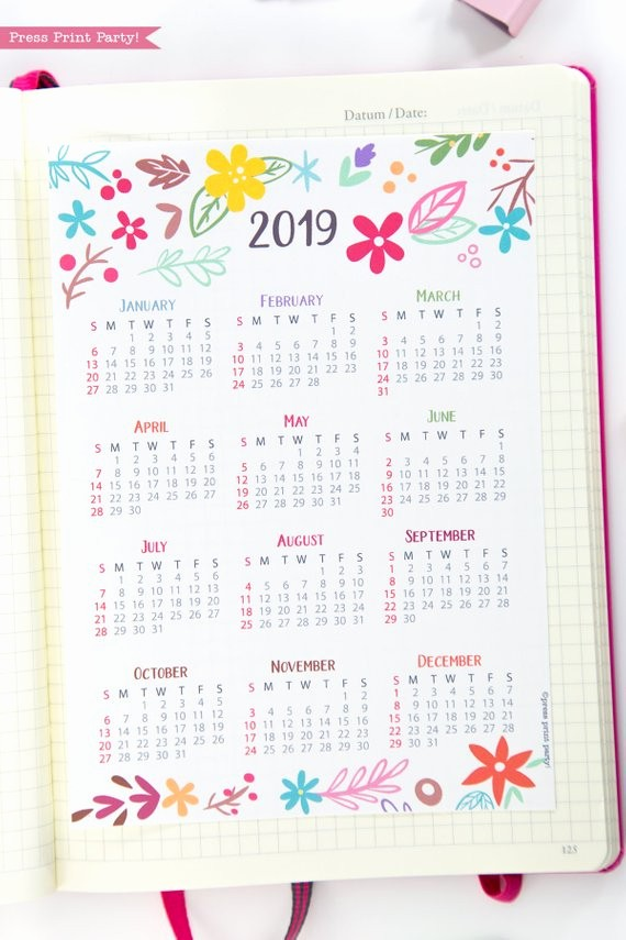 Annual Calendar at A Glance Awesome 2019 Yearly Calendar Printable Whimsy Design Press