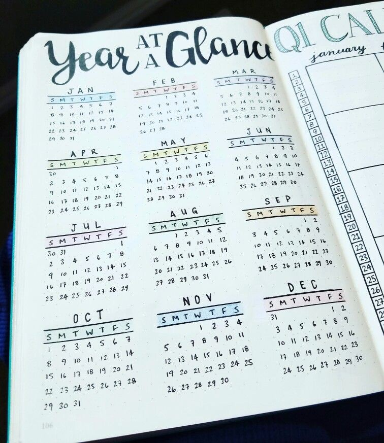 Annual Calendar at A Glance Awesome Year at A Glance 2017 Bullet Journal