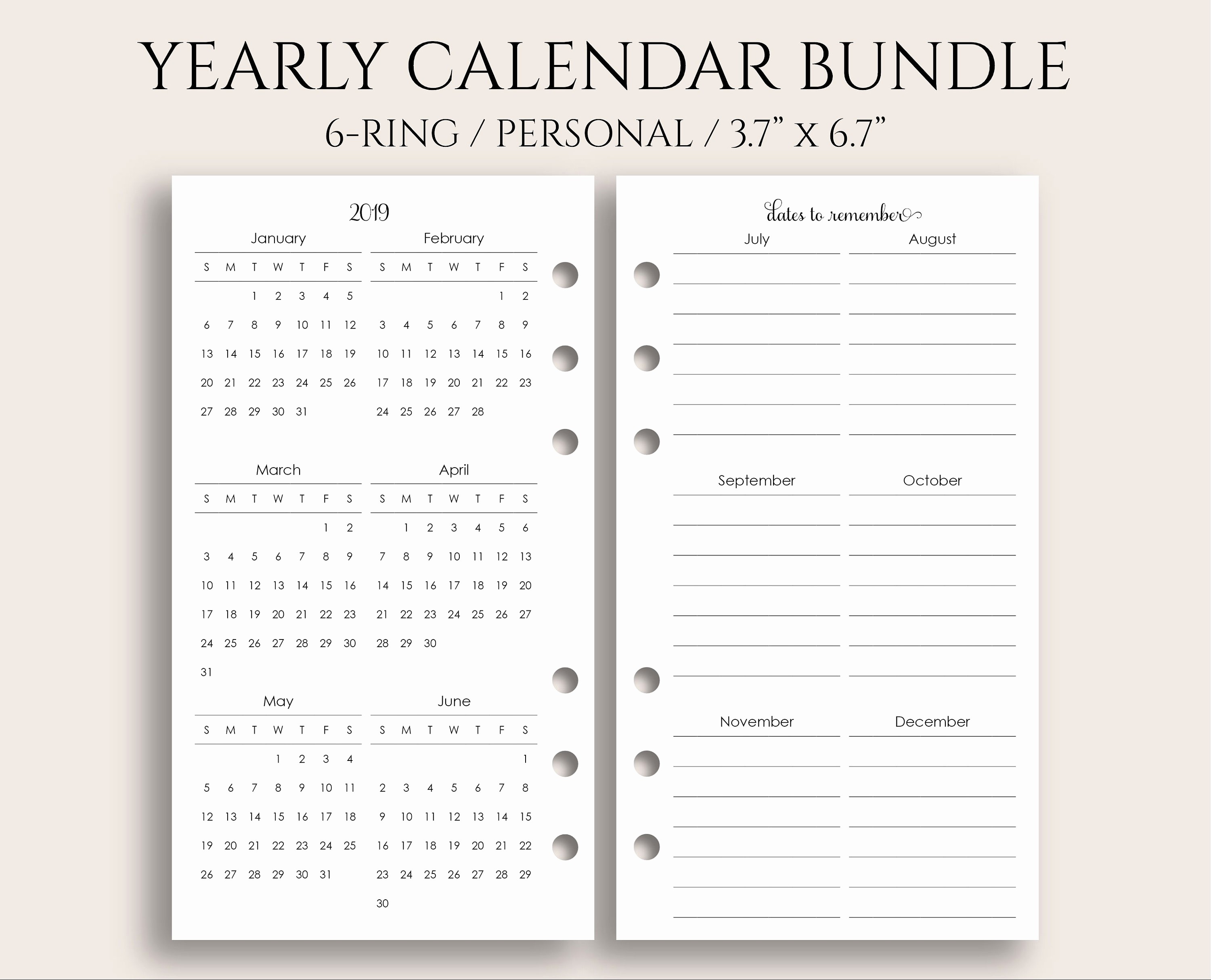 Annual Calendar at A Glance Awesome Yearly Calendar Bundle 2019 and 2020 Year at A Glance