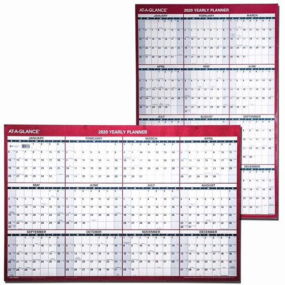 Annual Calendar at A Glance Beautiful at A Glance 2020 Yearly Planner Pm26 28 Dry Erase Wall