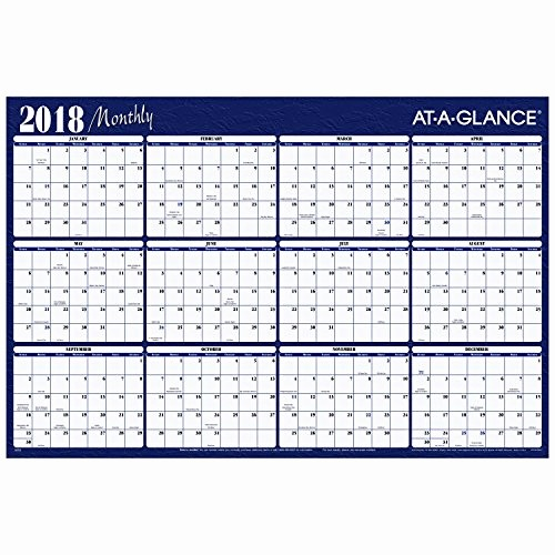 "Annual Calendar at A Glance Best Of Yearly Wall Planner January 2018 December 2018 48"" X"