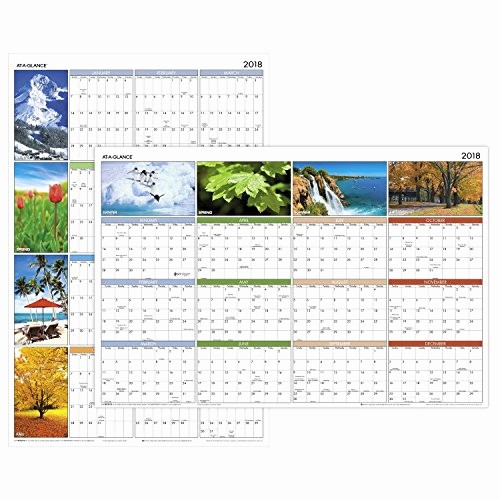 "Annual Calendar at A Glance Elegant at A Glance Yearly Wall Calendar 36"" X 24"" Horizontal"