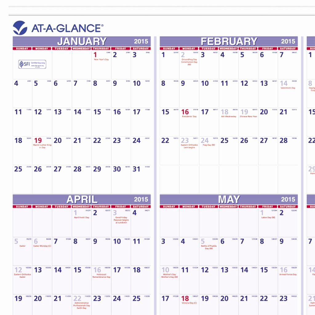 Annual Calendar at A Glance Fresh Amazon at A Glance Yearly Wall Calendar 2015 24 X