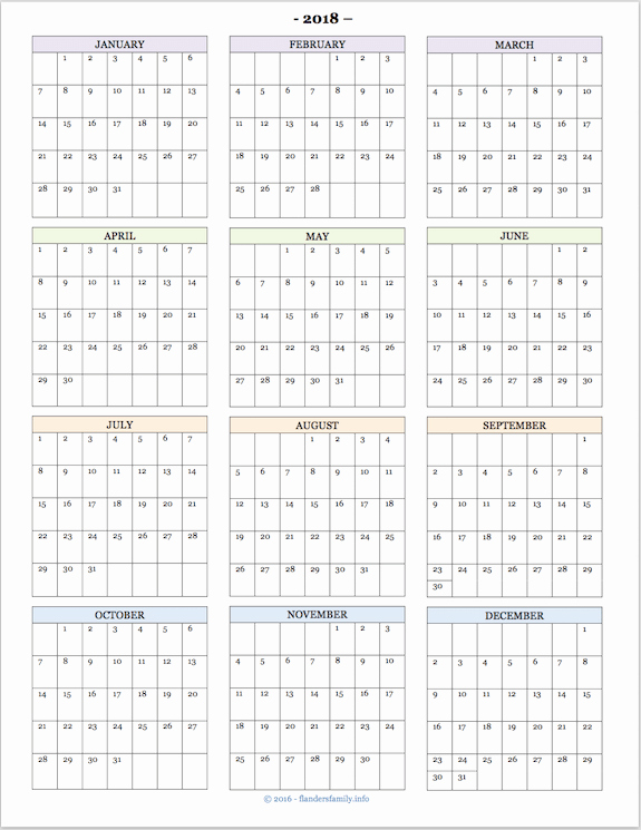 Annual Calendar at A Glance Inspirational Yearly Calendar at A Glance 2018 Printable