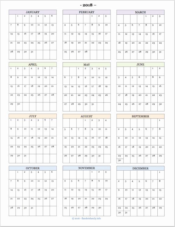 Annual Calendar at A Glance Inspirational Yearly Calendar at A Glance 2018 Printable