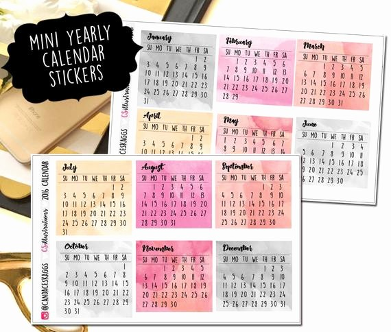 Annual Calendar at A Glance Lovely Mini Yearly Calendar Week at A Glance Perfect by
