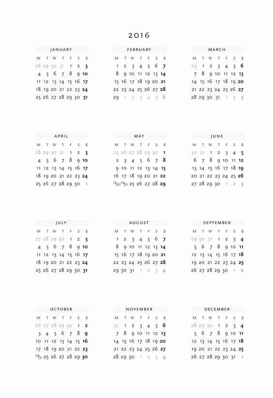 Annual Calendar at A Glance Lovely Pinterest • the World's Catalog Of Ideas