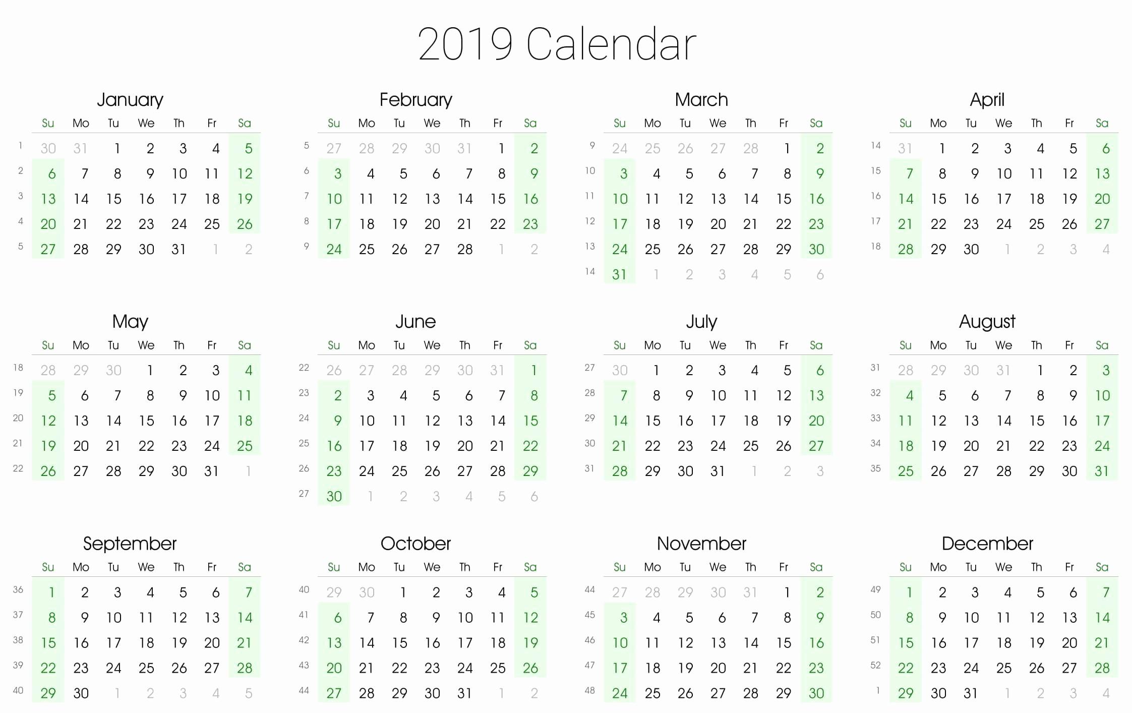 Annual Calendar at A Glance Luxury A4 Printable Yearly Calendar 2019