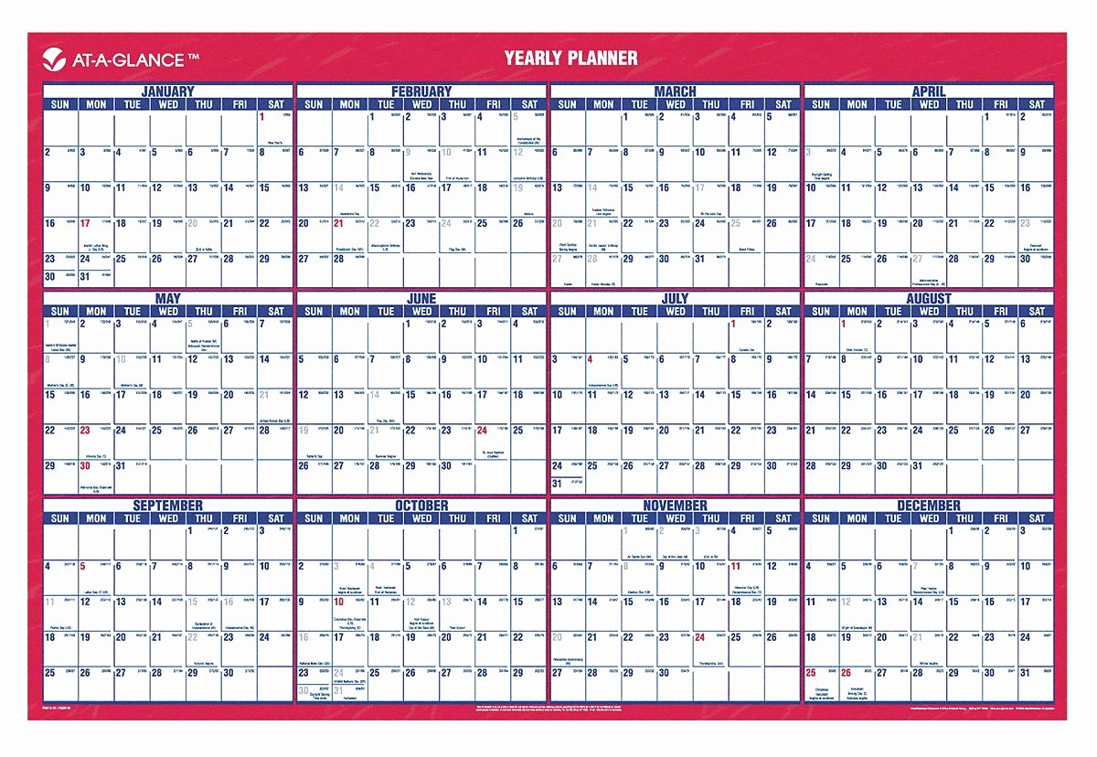 Annual Calendar at A Glance Luxury at A Glance Wall Calendar Yearly 24 X 36 In 6rmn9