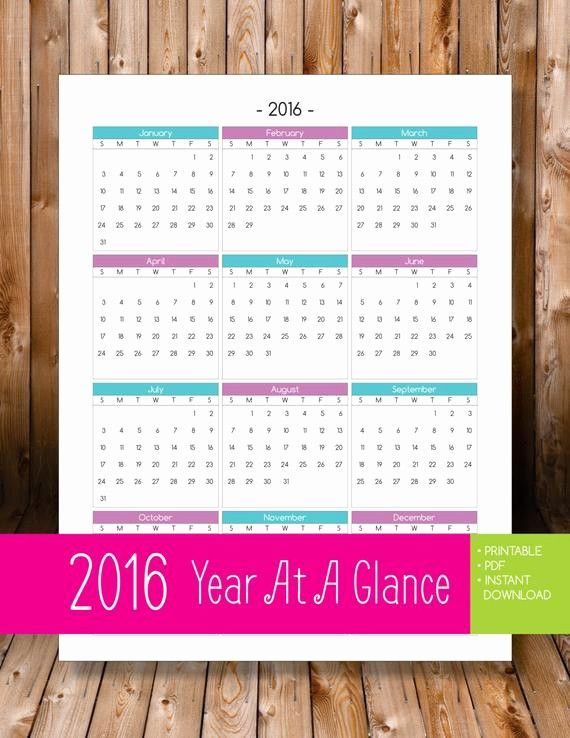 Annual Calendar at A Glance Luxury Items Similar to 2016 Year at A Glance Purple & Teal