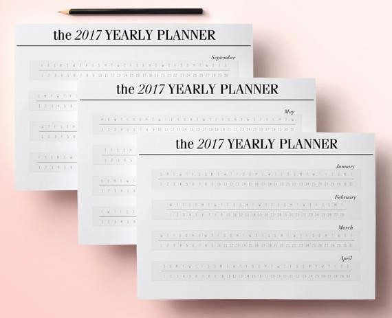 Annual Calendar at A Glance Luxury Items Similar to 2017 Yearly Planner Printable Pages A4