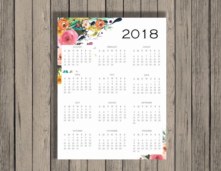 Annual Calendar at A Glance New 2018 Yearly Calendar 2018 Calendar Calendar Full Page