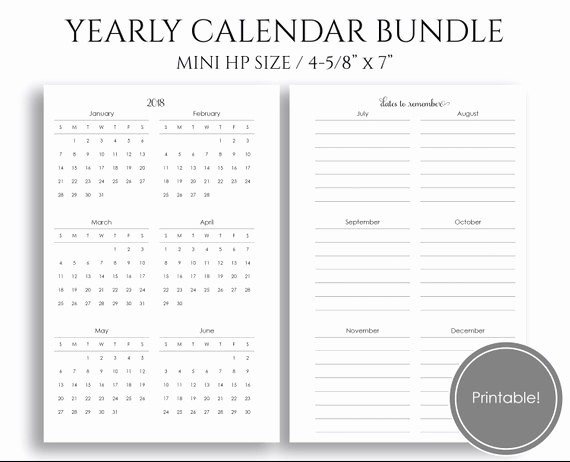 Annual Calendar at A Glance New Yearly Calendar Bundle 2018 & 2019 Year at A Glance Dates to