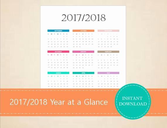 Annual Calendar at A Glance Unique 2017 2018 Academic Year at A Glance Calendar Academic