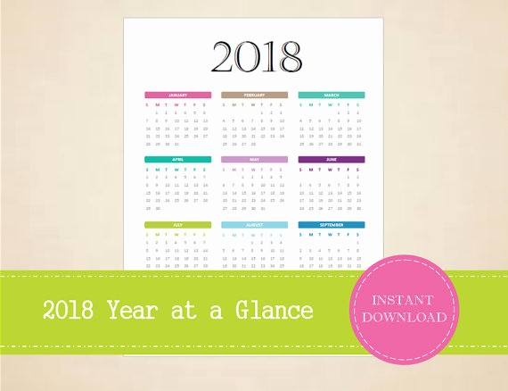 Annual Calendar at A Glance Unique 2018 Year at A Glance Full Year Calendar by