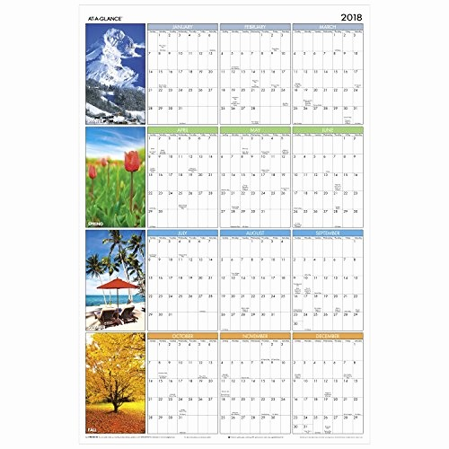 "Annual Calendar at A Glance Unique at A Glance Yearly Wall Calendar 36"" X 24"" Horizontal"