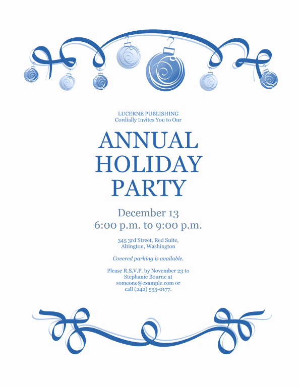 Annual Holiday Party Invitation Template Beautiful Download Blue Free Printable Invitations for Microsoft