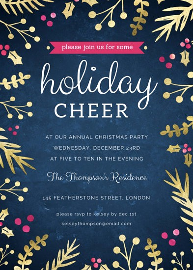 Annual Holiday Party Invitation Template Lovely Gold Sprigs Christmas Party Invitation Templates by Canva