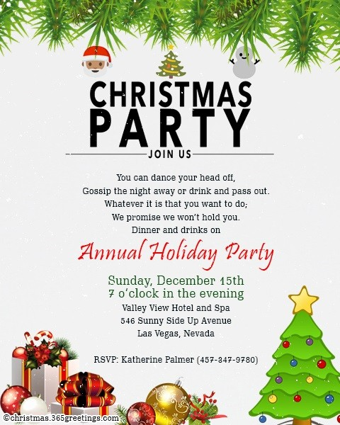 Annual Holiday Party Invitation Template New Christmas Invitation Template and Wording Ideas